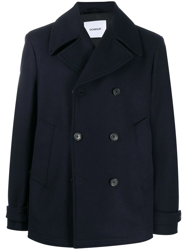 Dondup Long-sleeved Double Breasted Coat In Blue