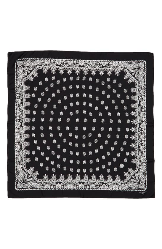 Saint Laurent Silk Bandana Scarf In Black/ White