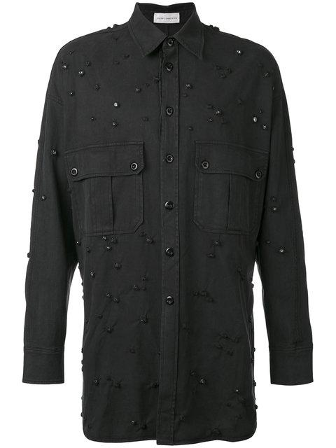 Faith Connexion Long Jewel Embellished Shirt In Black