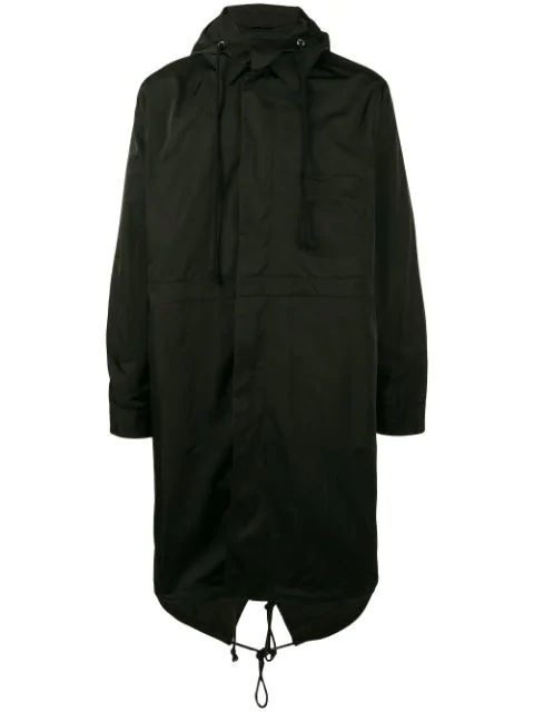 Raf Simons Rear Print Parka In Black
