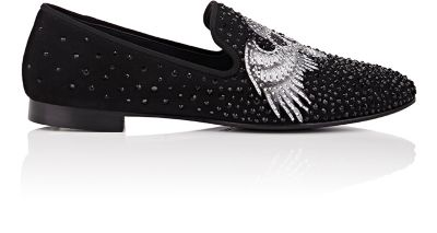 Giuseppe Zanotti Crystal-Embellished Suede Venetian Loafers In Black