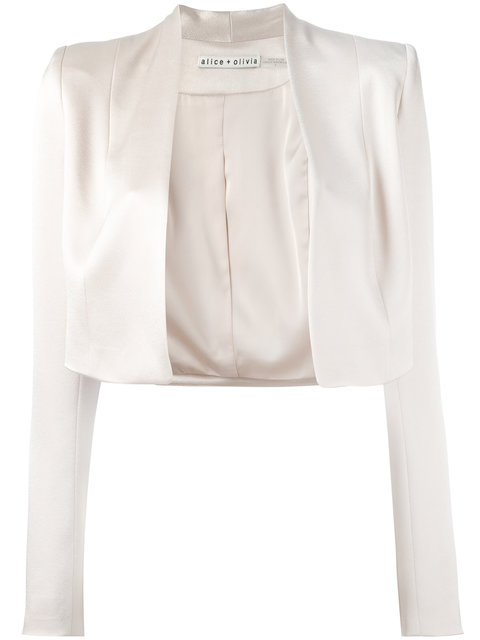 Alice And Olivia Alice+Olivia Cropped Jacket - Neutrals