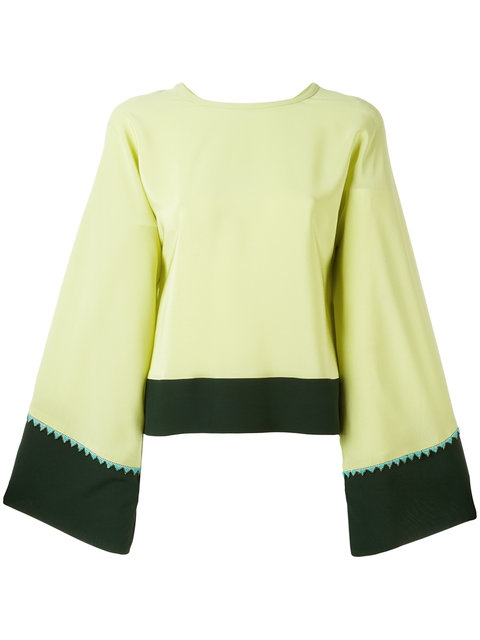 Etro Flared Sleeve Blouse In Green