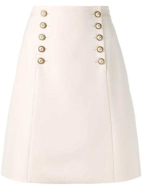 Gucci Buttoned A-Line Skirt - Neutrals