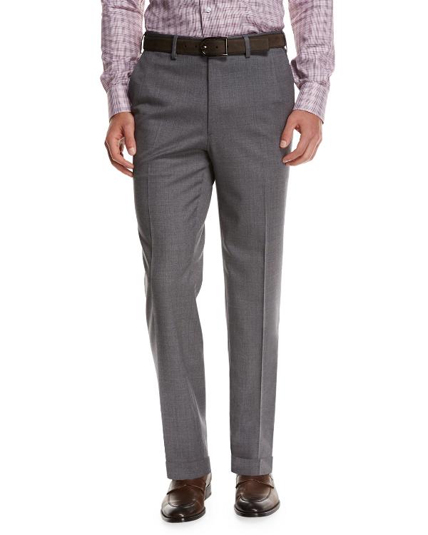 Brioni Micro-Tic Wool Trousers, Gray