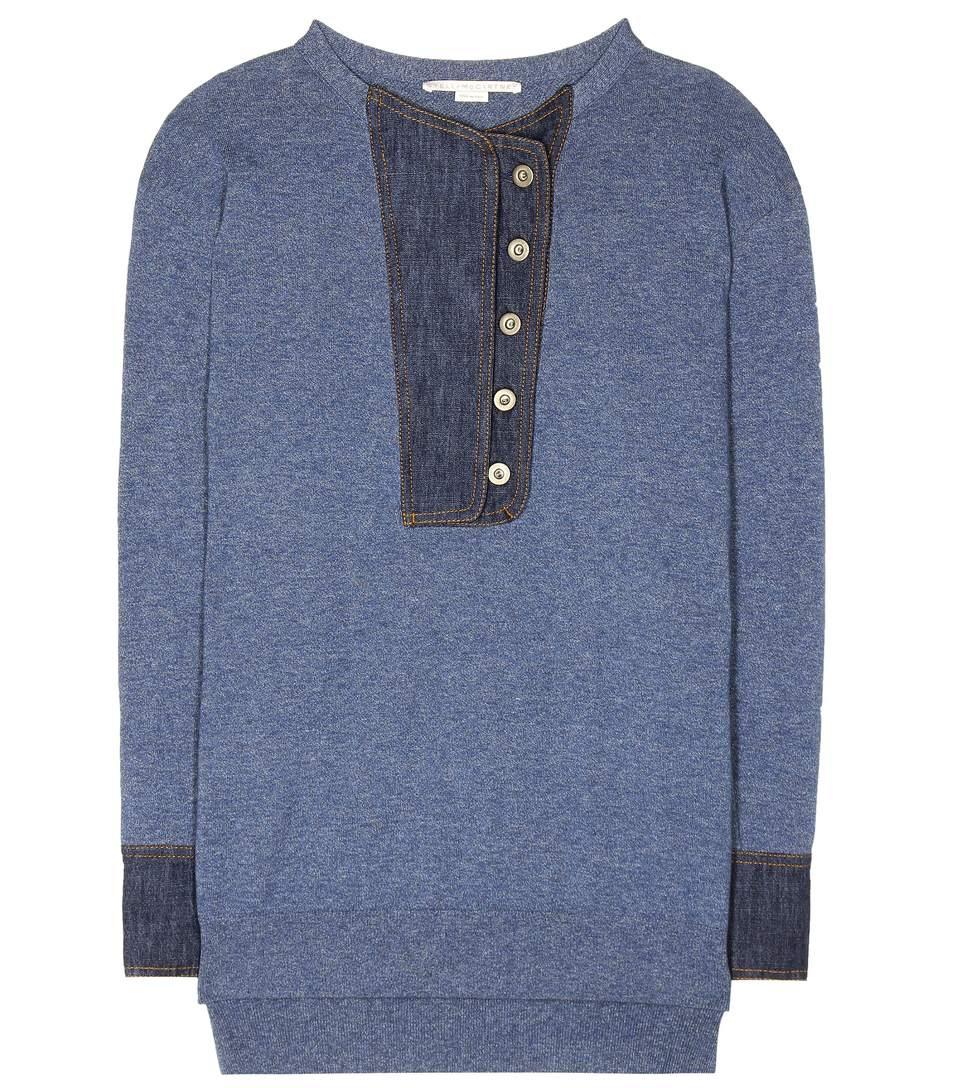 Stella Mccartney Denim-Trimmed Sweater In Blue