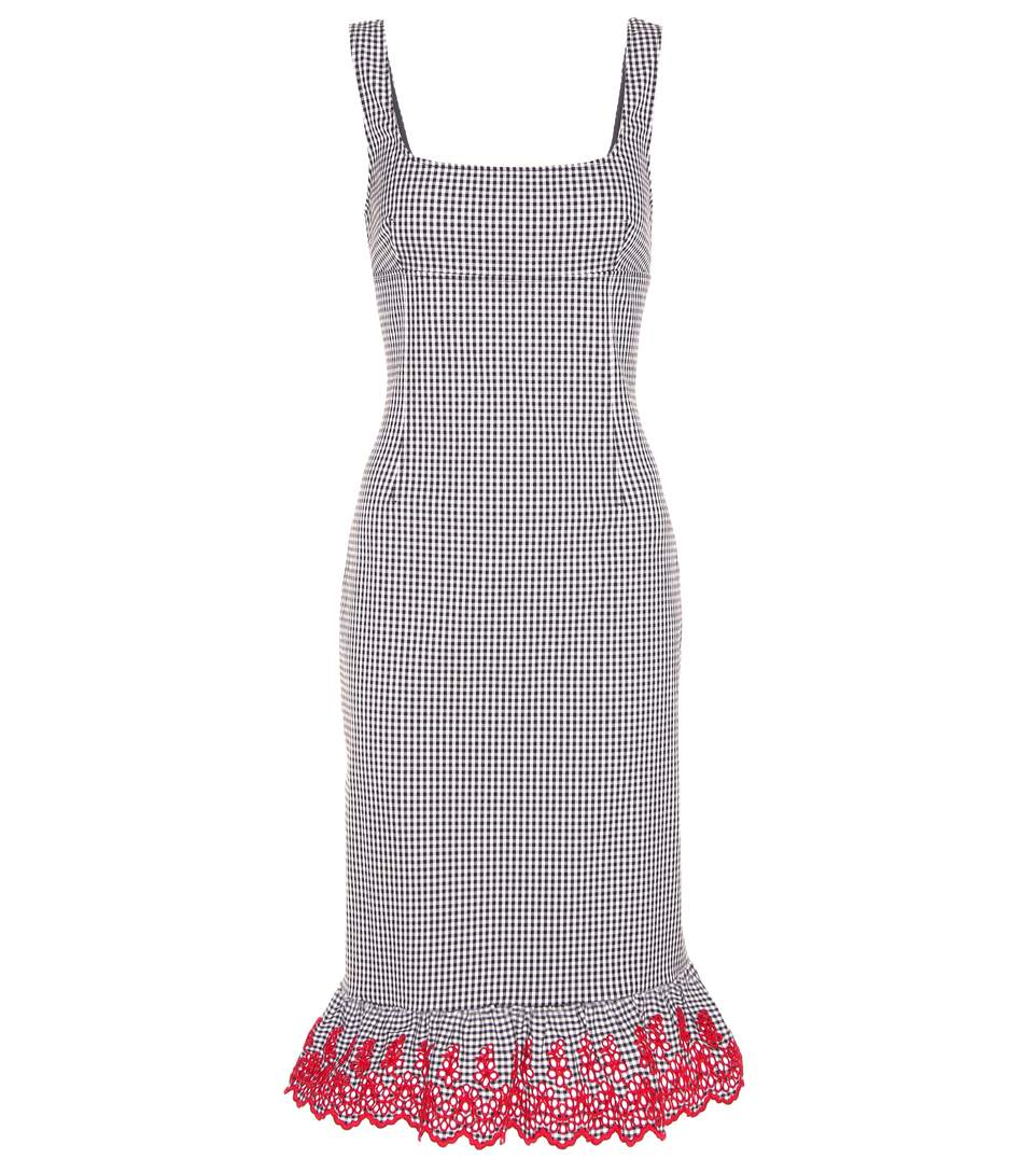 Altuzarra Embroidered Ruffled Checked Dress