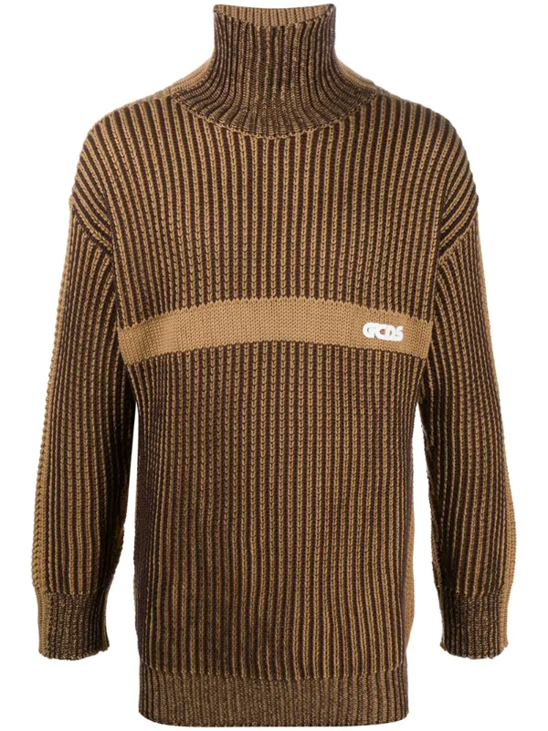 Gcds Waffle Knit Jumper In Brown