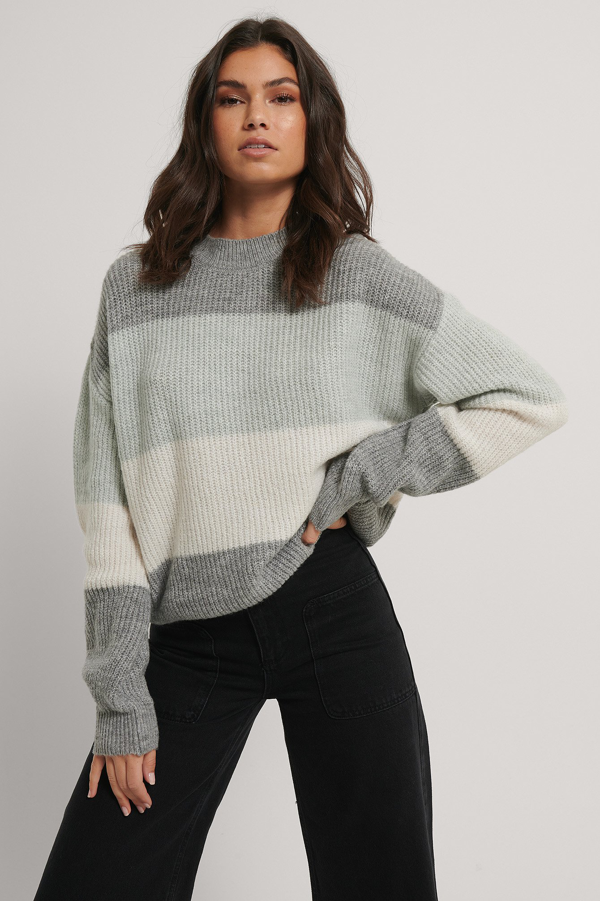 Na-kd Reborn Color Striped Knitted Sweater - Grey