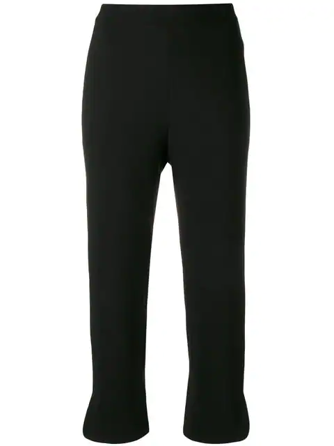 Theory Straight Cropped Trousers In Black