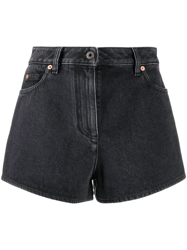 Valentino Vlogo Denim Shorts In Black