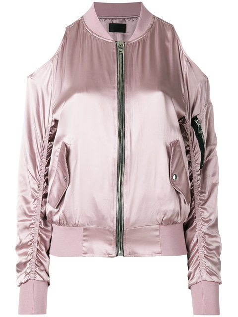 Rta Zipped Bomber Jacket In Rose