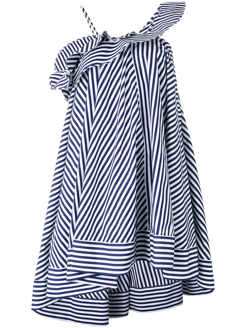 Msgm One-Shoulder Ruffled Striped Cotton Mini Dress In Navy/White