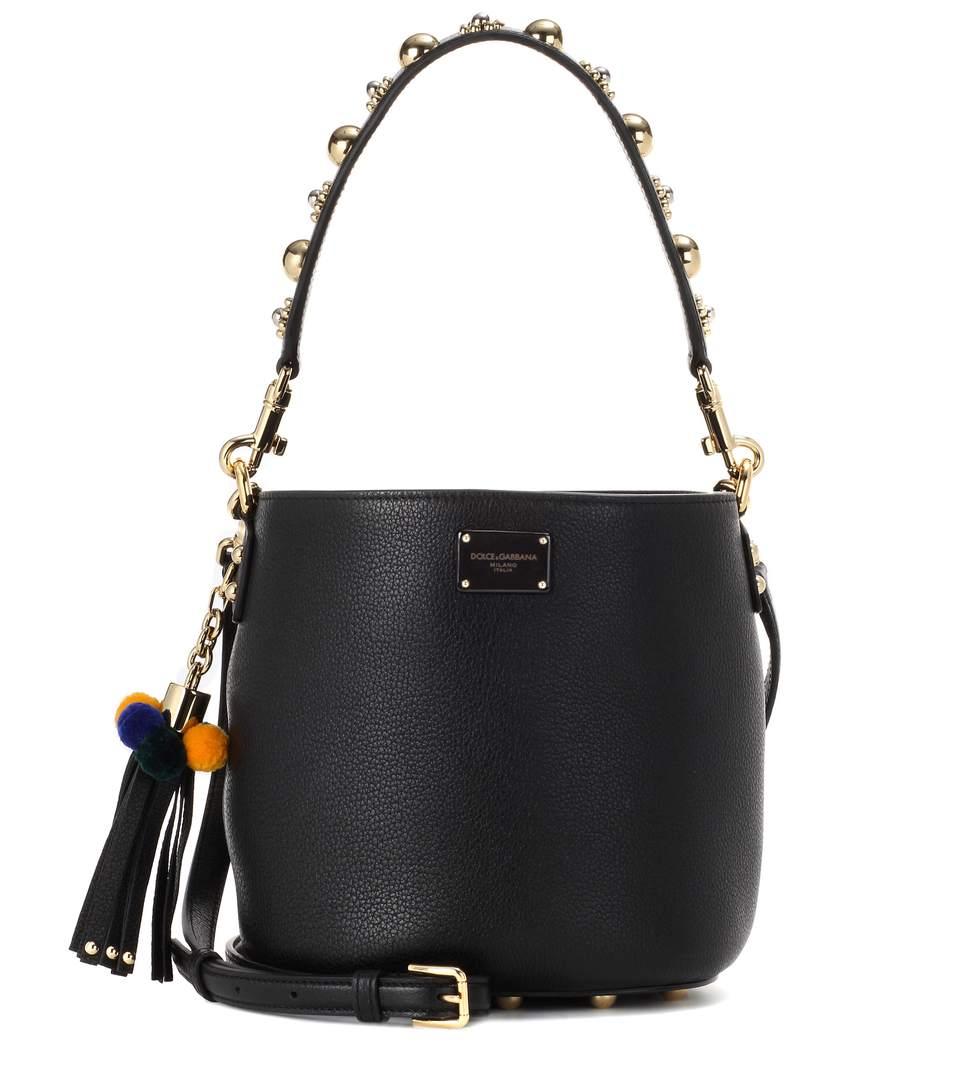 Dolce & Gabbana Leather Bucket Bag In Llack