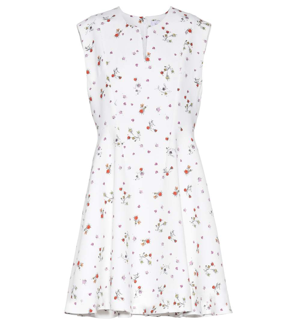 Carven Sleeveless Floral Print Dress In White