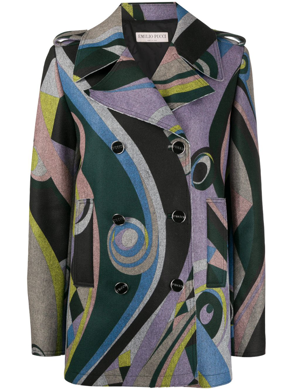 Emilio Pucci Geometric Print Double-breasted Coat In Black