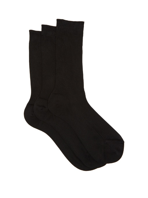 a09e2cfad44 Raey - Pack Of Three Silk Socks - Womens - Black