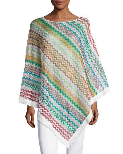 Missoni Asymmetric Zigzag Poncho In Mltired/Orange