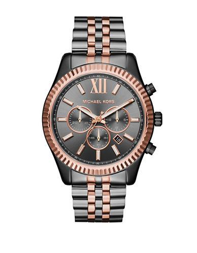 Michael Kors Chronograph Lexington Two-Tone Bracelet Watch In Black