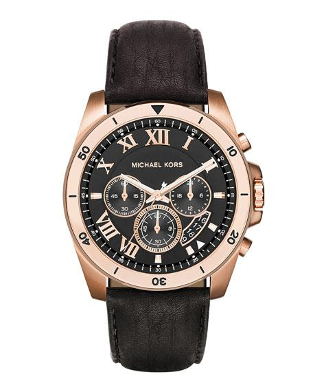 Michael Michael Kors 44Mm Brecken Chronograph Watch W/ Leather Strap, Rose Gold/Black