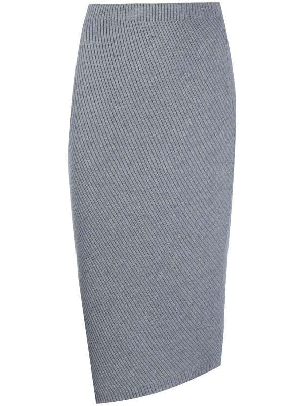 Theory Asymmetric Ribbed Wool-blend Skirt In Gray