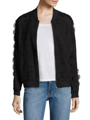 Opening Ceremony Broderie Anglaise Cotton Bomber Jacket In Black