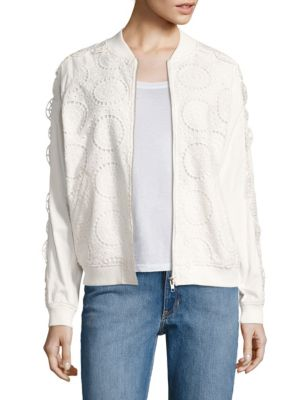 Opening Ceremony Broderie Anglaise Cotton Bomber Jacket In White