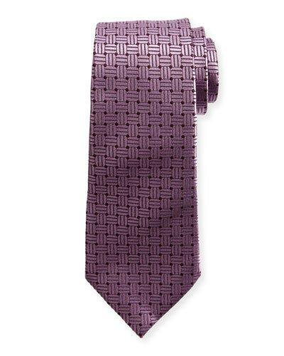 Ermenegildo Zegna Braided Neat Silk Tie, Pink