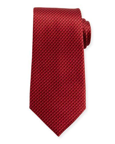 Ermenegildo Zegna Tonal 3D Diamond Silk Tie, Red