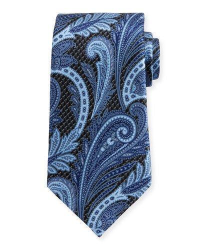 Ermenegildo Zegna 3D Paisley Silk Tie In Navy