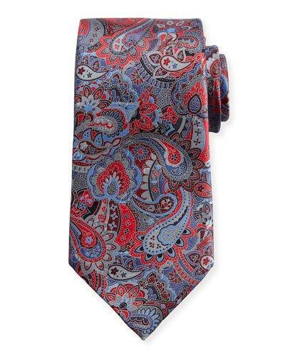 Ermenegildo Zegna Quindici Multi-Paisley Silk Tie, Red