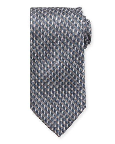 Brioni Silk Houndstooth Tie In Gray