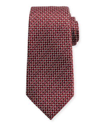 Ermenegildo Zegna Neat Basketweave Silk Tie, Red