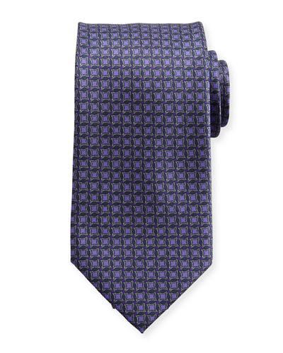 Brioni Interlocked-Circle Printed Silk Tie, Purple/Gray