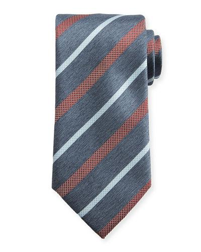 Brioni Textured Multi-Stripe Tie In Gray
