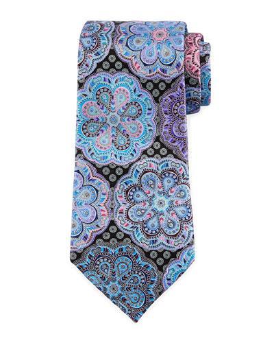 Ermenegildo Zegna Quindici Circle Flower Medallion Tie In Gray