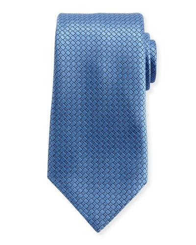 Ermenegildo Zegna Textured Solid Silk Tie, Light Blue