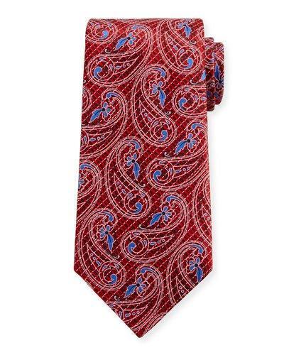 Ermenegildo Zegna Etched Paisley Silk Tie, Red