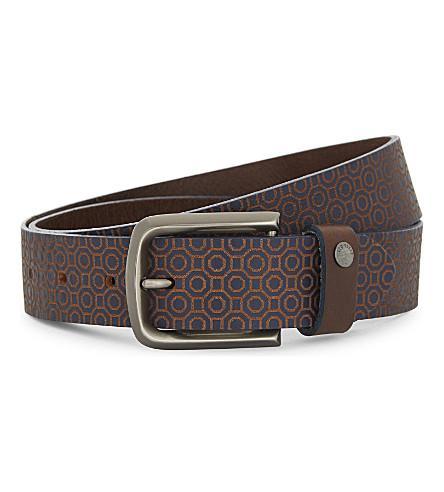 Ted Baker Butten Leather Belt In Navy