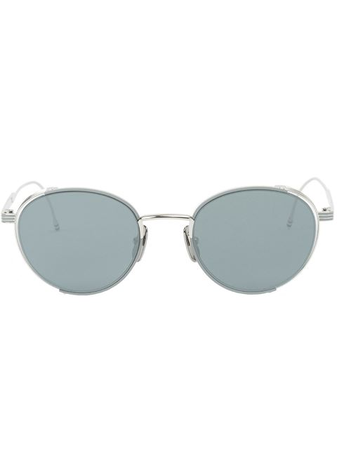 Thom Browne Round-Frame Silver-Tone Sunglasses In Gray