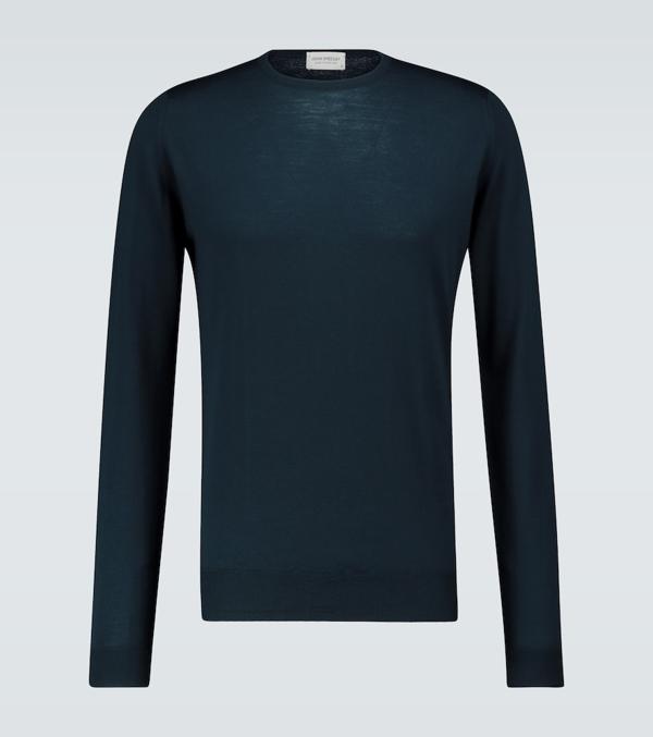 John Smedley Geo Pattern Crewneck Merino Wool Sweater In Orion Green