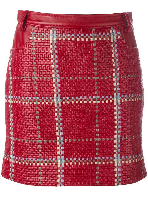 Magda Butrym High Rise Woven Leather Mini Skirt In Brick Red