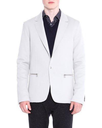 Lanvin V-neck Sweater With Mesh Shoulder, Navy In Black