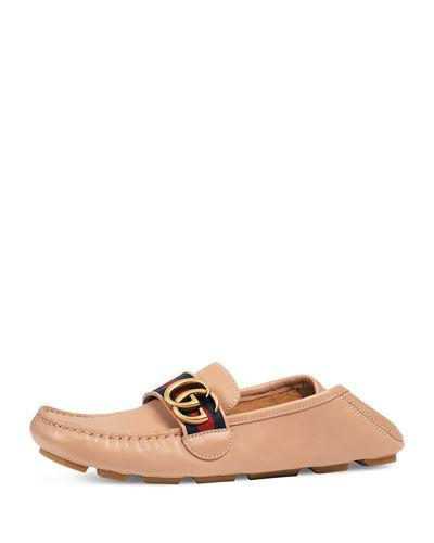Gucci Noel Leather Web Loafer In Nude
