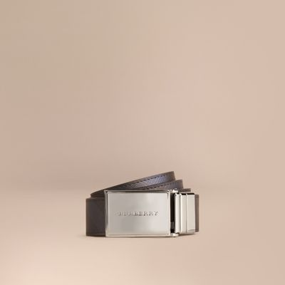 Burberry Reversible London Check And Leather Belt In Navy/Black