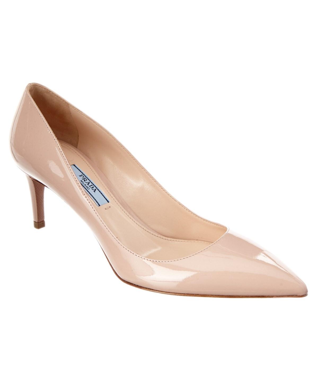 Prada 65 Saffiano Patent Pointy-Toe Pump In Pink