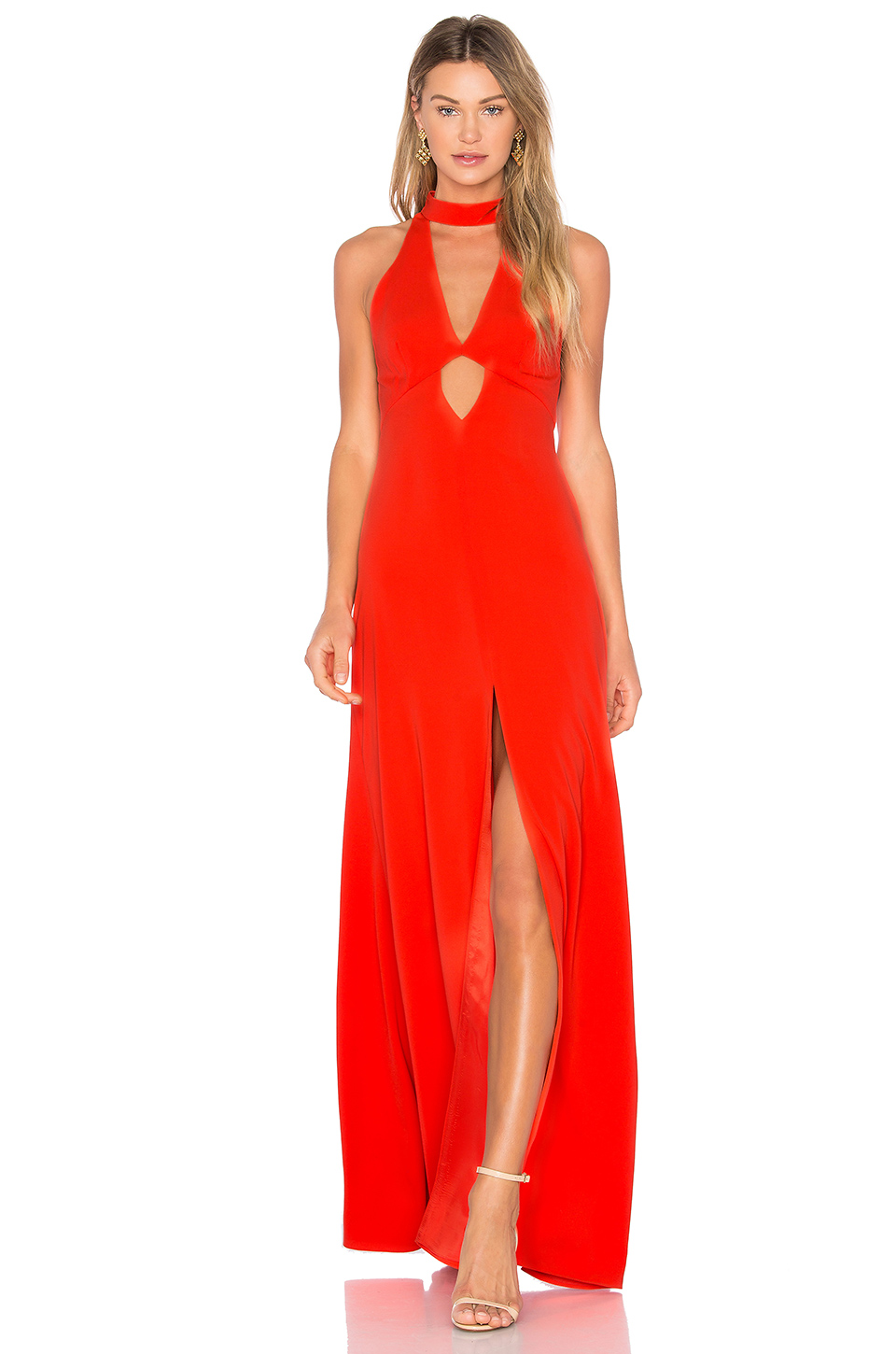 Jill Jill Stuart High Neck Gown In Orange