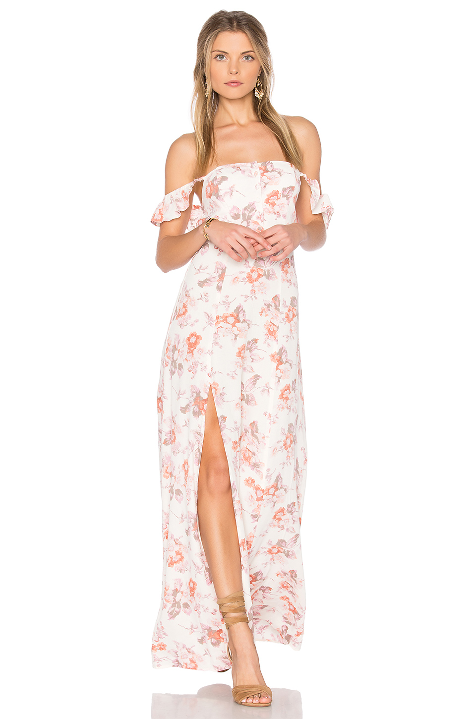 Flynn Skye Bardot Maxi Dress In Ivory
