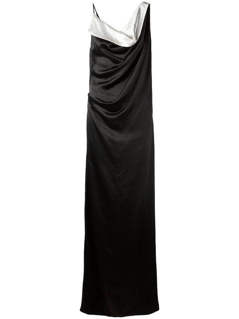 Lanvin Woman Draped Two-Tone Satin Gown Black
