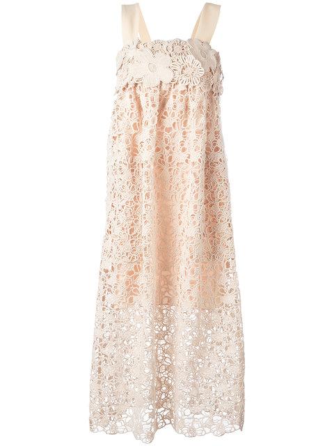 ChloÉ Guipure Lace Dress In Neutrals